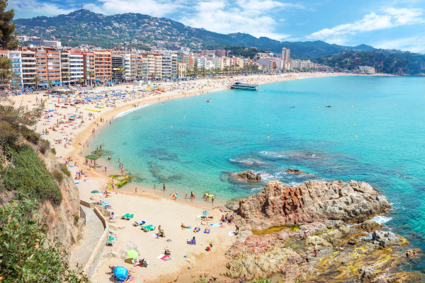 Panoramic view of Lloret de Mar beach. Costa Brava, Catalonia, Spain
