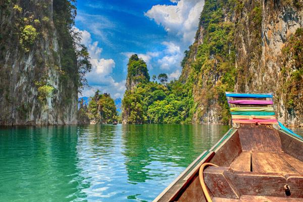 HDR Photo. Three rocks in Cheow Lan Lake, Khao Sok National Park, Thailand.