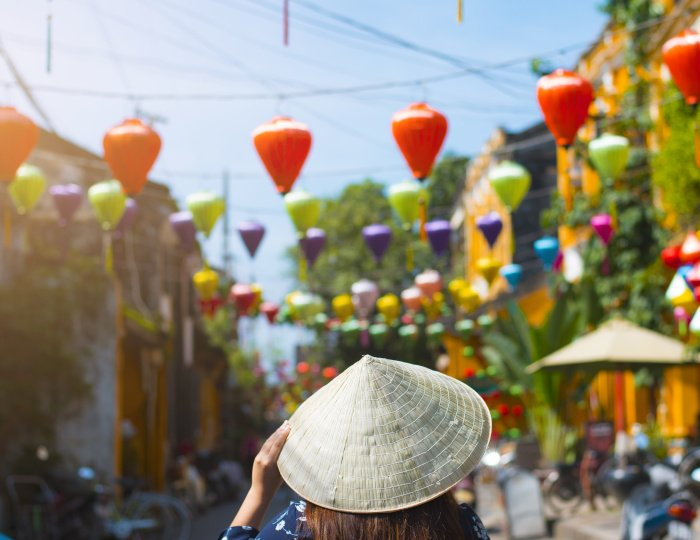 Tourist is walking in Old town in Hoi An, Vietnam.