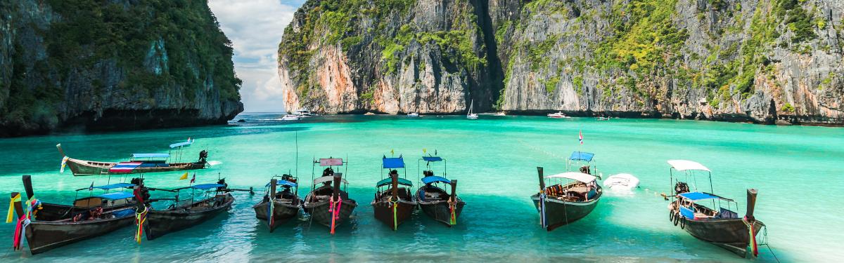 Maya Bay in Ko Phi Phi Le island, Krabi Province, Thailand. South East Asia.