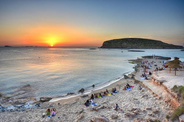 Ibiza - Sunset with evening atmosphere on the Cala Comte